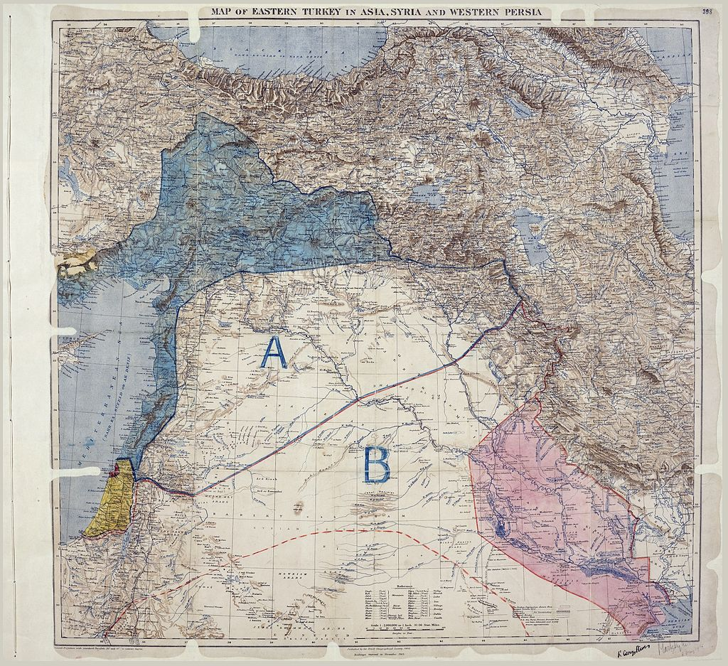 Sykes Picot Map 1916. from the collections of The National Archives (United Kingdom), catalogued under document record MPK1/426