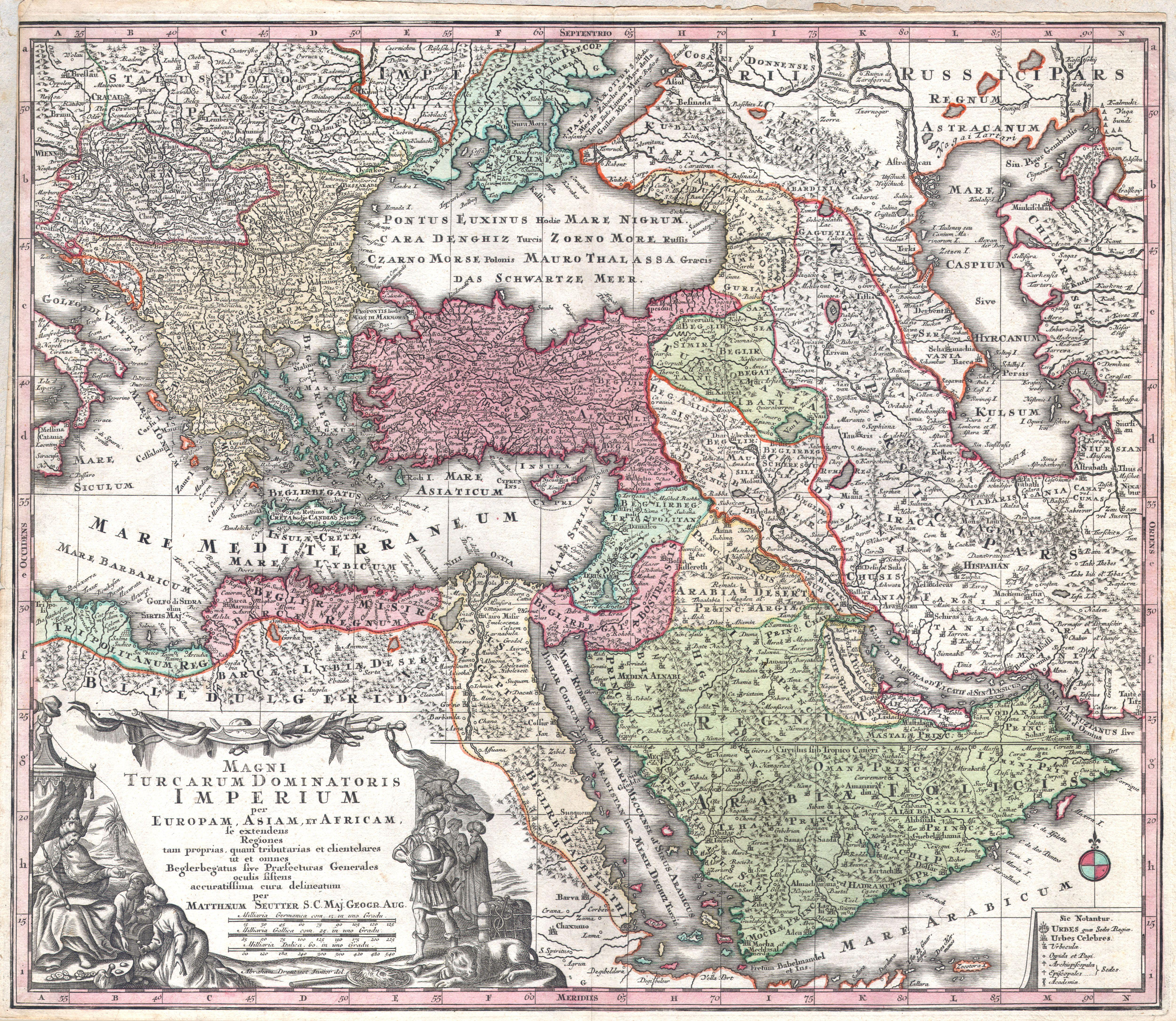 c. 1730 map of the Ottoman Empire, including Greece, Turkey, Persia, Egypt and Arabia