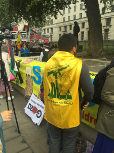 Hezbollah emblems at PSC event outside Israeli embassy